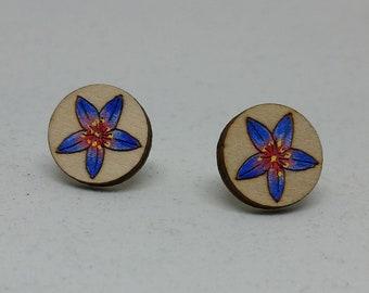 Calytrix Orchid Earrings - Australian Flower Earrings - Australian Wildflower Earrings - Wood Flower Earrings - Flower Studs
