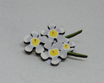 Flower Brooch, Geraldton Wax Flower, Hand Painted Flower Brooch, Australian Flower, Wildflower, Australian Brooch, Flower Pin, White Flower