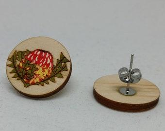 Large Red & Yellow Banksia - Australian Flower Earrings-Australian Wildflower Earrings-Wood Flower Earrings-Baxter's Banksia