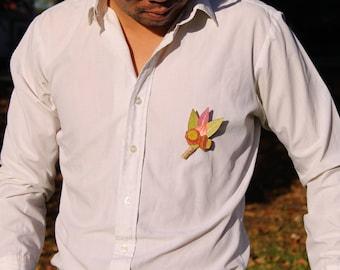 Groomsmen Boutonniere, Boutonniere, Wedding Wear, Lapel Pin, Mens Corsage, Australian Flower Brooch, Wedding Flowers, Gum leaves, Flower Art