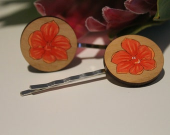 Orchid Flower Bobby Pins-Flower Hair Pins-Flower Bobby Pins-Handpainted-Wildflower Hair Pin-Australian Wildflower