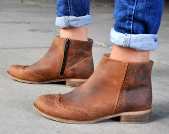 Classon - Womens Ankle Boots, Womens Aged Leather Boots, Low Boots, Brown Boots, Booties, Country Style, Custom Boots, FREE customization!!!