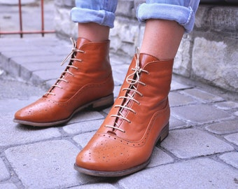 Camden - Womens Fall Boots, Lace-up Leather Boots, Oxford Boots, Retro Boots, Winter Boots, Custom boots, FREE customization!!!