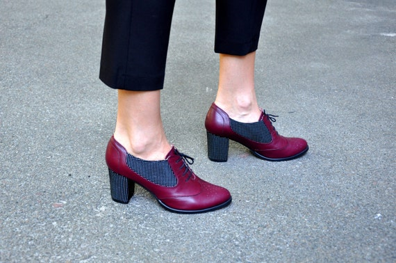 sold worldwide stylish design huge discount Kingston - Oxford Pumps, Womens Leather Oxfords, Burgundy Shoes, Oxford  heel, Custom shoes, Vintage shoes, FREE customization!!!!