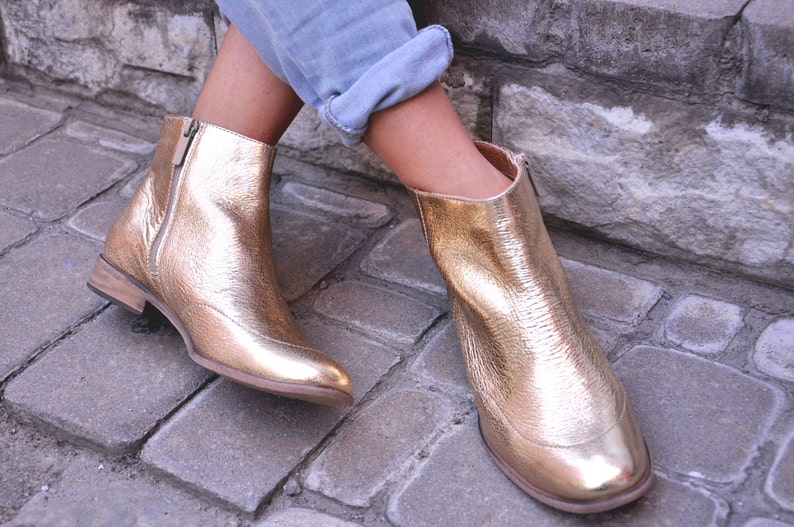 Womens Leather Boots Casual Womens Ankle Boots Chelsea Boots Gold Boots FREE customization!!! Custom Boots Garibaldi