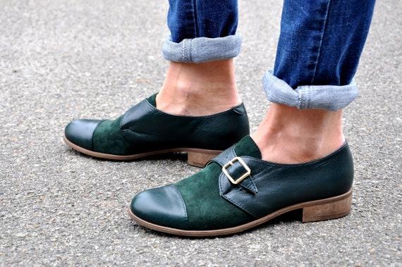 Womens Monk Shoes Leather shoes Vintage Shoes Womens Oxfords Custom Shoes Monk Straps Customization Available HIT Black Shoes