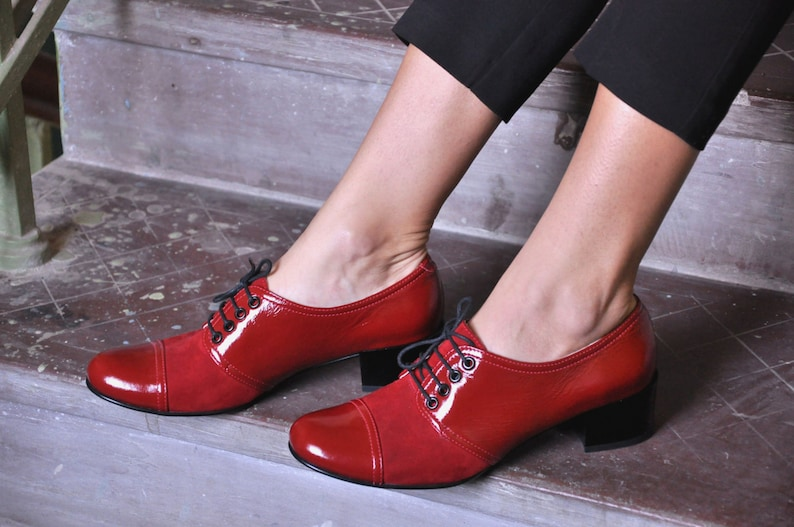 Retro Vintage Flats and Low Heel Shoes Moor - Oxford Pumps Womens Oxfords Mod Shoes Party Shoes Red shoes Heeled Oxfords Vintage 60s Shoes Chic Shoes FREE customization!!! $130.50 AT vintagedancer.com