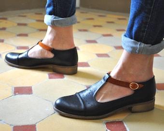 Jane - Women's Mary Janes, Leather Mary Janes, Vintage Shoes, Black shoes, Mary Jane shoes, custom shoe, Custom Shoes, FREE cu...