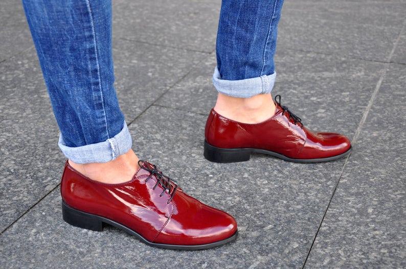 79814906f6d Brixton Womens Leather Oxfords Bordeaux shoes Patent