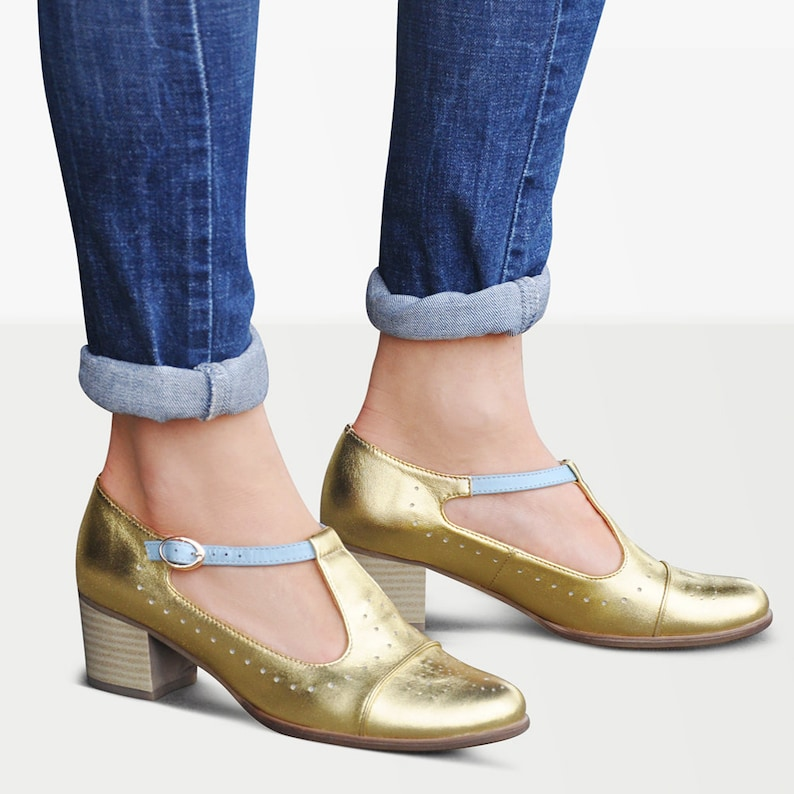1960s Style Clothing & 60s Fashion Jane Pumps - Gold Mary Jane shoes Womens Mary Janes Heeled Mary Janes Wedding Shoes Custom Shoes FREE customization!!! $130.50 AT vintagedancer.com
