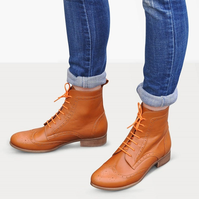 History of Victorian Boots & Shoes for Women Russel - Brogue Boots Women Lace-up Leather Boots Oxford Boots Retro Boots Winter Boots Custom boots FREE customization!!! $157.50 AT vintagedancer.com