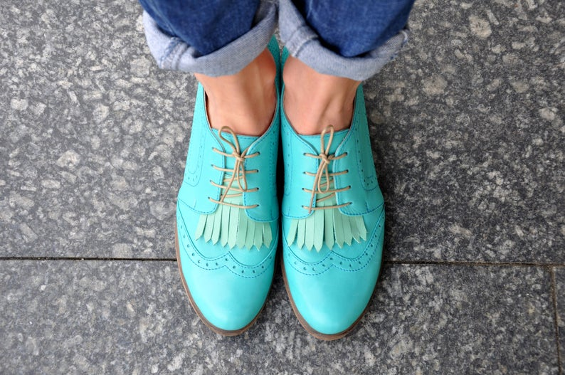 60s Shoes, Go Go Boots Hendrick - Womens Leather Derbys Brogued Oxfords Fringe shoes Vintage Shoes Turquoise Shoes Derby Shoes FREE customization!!! $135.00 AT vintagedancer.com