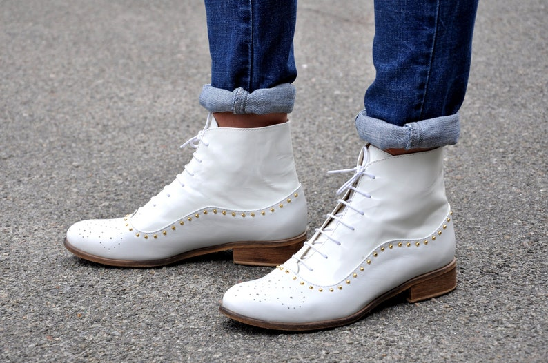 History of Victorian Boots & Shoes for Women Armada - Womens Fall Boots Lace-up Leather Boots Oxford Boots White Boots Leather Ankle Boots Custom boots FREE customization!!! $148.50 AT vintagedancer.com