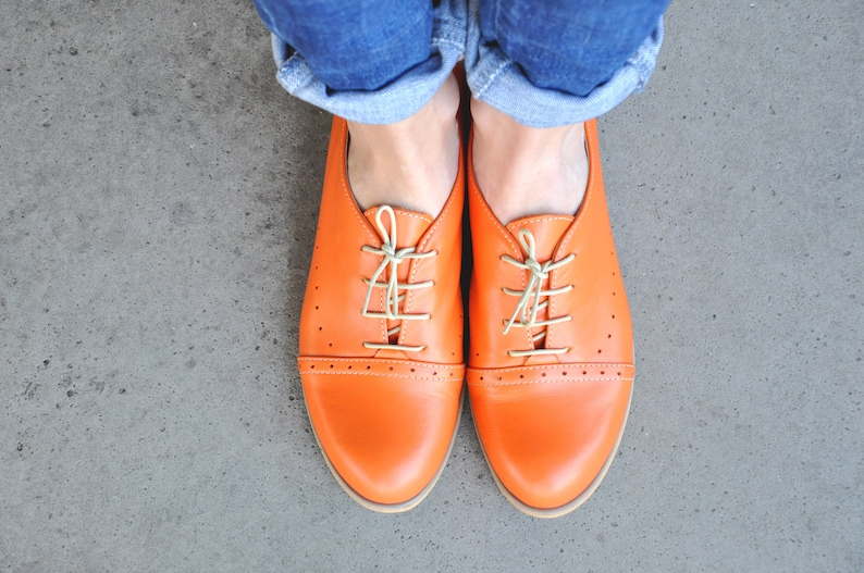 1098556673bc2 Devon - Women's Oxfords, Handmade Oxfords, Orange shoes, Oxfords for women,  Oxford Shoes, Retro Shoes, Custom Shoes, FREE customization!!!