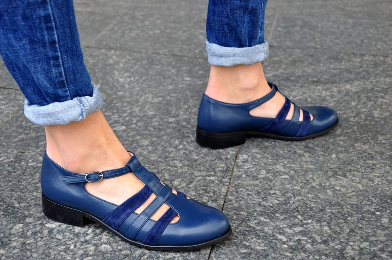 1960s Style Clothing & 60s Fashion Mary - Womens Mary Janes Leather Mary Janes Vintage Shoes Blue Mary Jane shoes Summer shoes Custom Shoes FREE customization!!! $126.00 AT vintagedancer.com