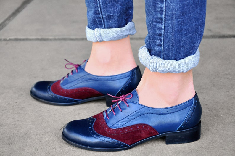 Vintage Shoes UK – 40s, 50s, 60s, 70s Lenox - Womens Leather Oxfords Brogue Shoes Vintage Shoes Blue-Burgundy Oxfords Oxford Shoes Custom Shoes FREE customization!!! $130.50 AT vintagedancer.com