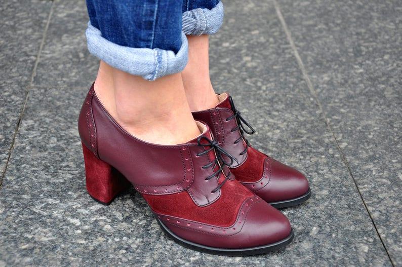 Cottagecore Clothing, Soft Aesthetic Fulham - Oxford Pumps Womens Oxfords Leather Shoes Bordeaux Shoes Heeled Oxfords Oxford Heels Handmade Shoes FREE customization!!! $139.50 AT vintagedancer.com