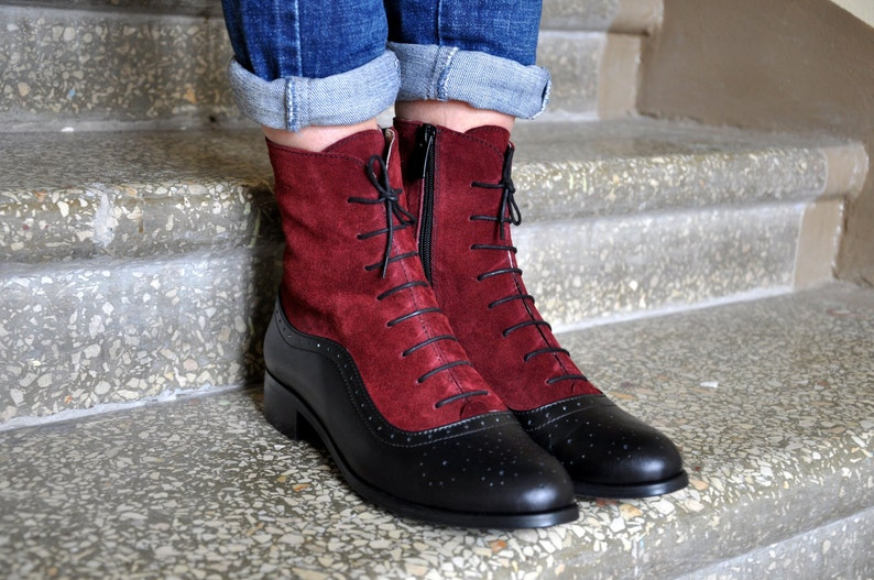 History of Victorian Boots & Shoes for Women     Arsenal - Lace-up Leather Boots Oxford Boots Leather Ankle Boots Custom boots Black boots FREE customization!!!  AT vintagedancer.com
