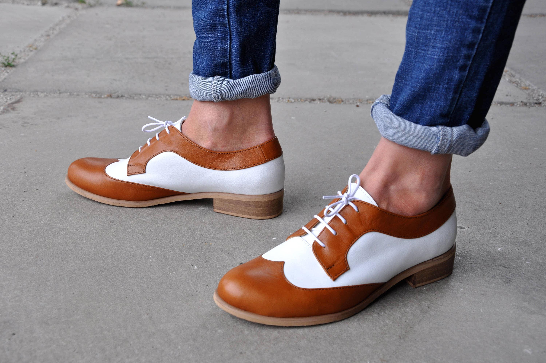 Astoria Womens Derby Handmade Oxfords Brown Shoes Oxfords