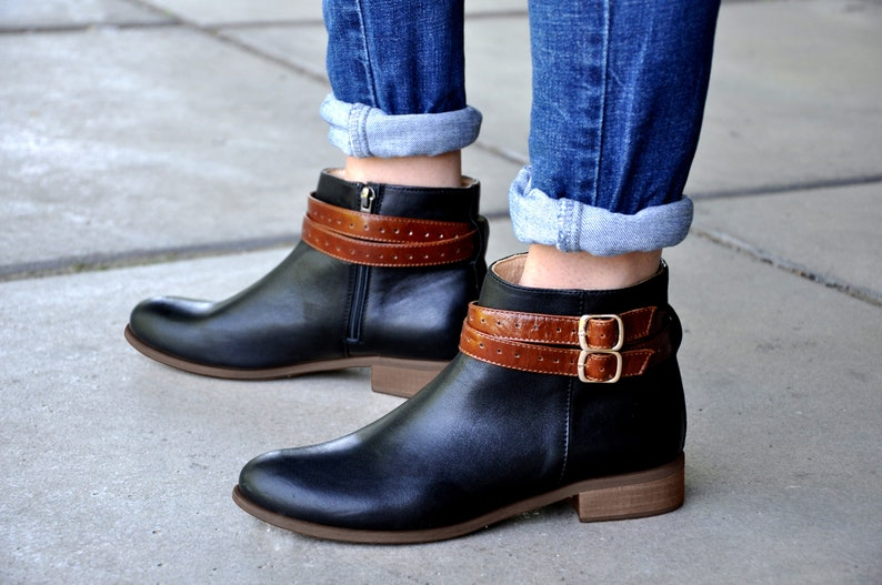 e319e446a8a9c Classon - Womens Ankle Boots, Removable Strap Boots, Black-Brown Leather  Boots, Low Boots, Booties, Custom Boots, FREE customization!!!