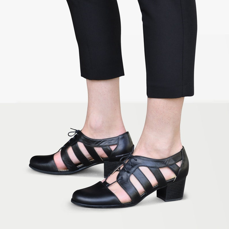 1940s Shoes Styles for Women History Nassau Pumps - Cutout Oxfords All Black Leather Oxford Heels Oxford Sandals Heeled Oxfords Chic Shoes FREE customization!!! $135.00 AT vintagedancer.com