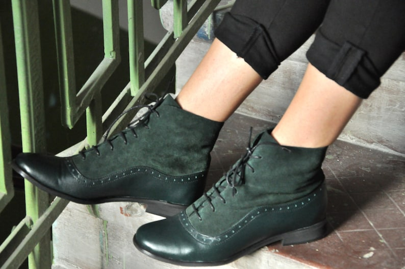 Vintage Boots, Retro Boots Armada - Womens Fall Boots Lace-up Leather Boots Oxford Boots Green Boots Leather Ankle Boots Custom boots FREE customization!!! $144.00 AT vintagedancer.com