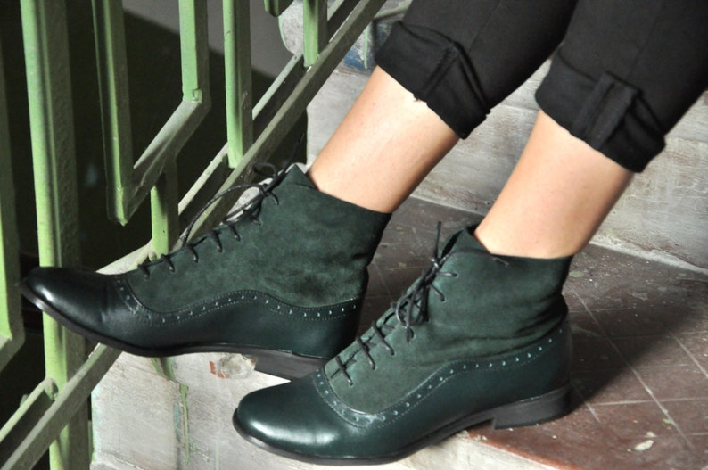 1900 -1910s Edwardian Fashion, Clothing & Costumes Armada - Womens Fall Boots Lace-up Leather Boots Oxford Boots Green Boots Leather Ankle Boots Custom boots FREE customization!!! $144.00 AT vintagedancer.com