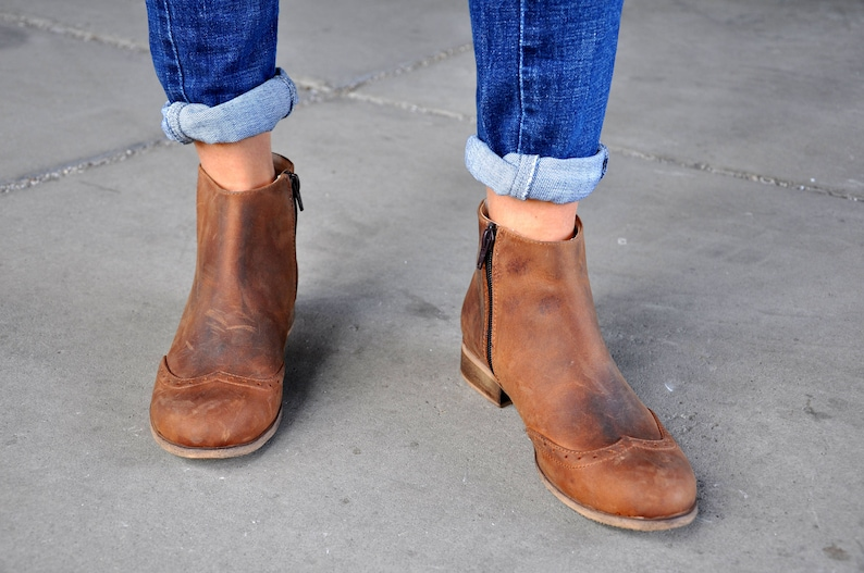 b28e7343a5746 Classon - Womens Ankle Boots, Womens Aged Leather Boots, Low Boots, Brown  Boots, Booties, Country Style, Custom Boots, FREE customization!!!