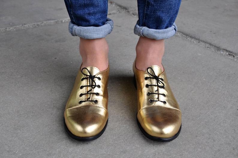 160eb9e0b Mariachi Gold Oxfords Leather Oxfords for Women Handmade image ...