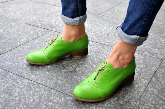 Devon Women's Oxfords Handmade Oxfords Green shoes | Etsy