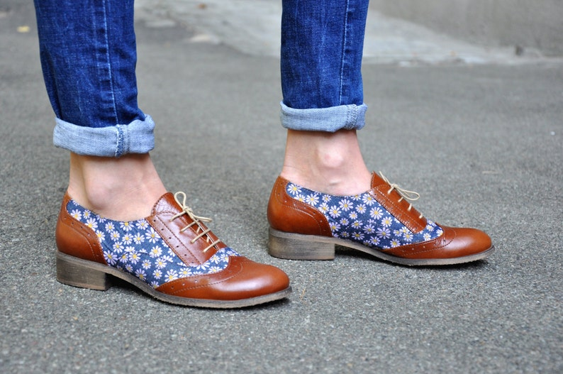 fd7f76383a1 Hudson Womens Oxfords Floral shoes Leather Brogues Casual