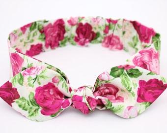 Baby headbands, baby girl headband, rose headband, flower knot headband, cotton headbands, knotted headband, newborn, infant,hair bows