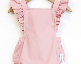 71eeca5d87b1 Blush Pink Retro Baby Girl Romper