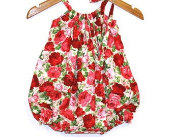 Red Roses Baby Girl Romper, Baby Rompers, Bubble Romper, Sunsuit, Playsuit, Baby Outfit, Baby Romper, Baby Girl Clothing