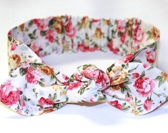 """Baby Floral headband, baby girl headband, baby headwrap, knot headband,  baby bow headband, """"Philli"""", roses headband, topknot headband"""