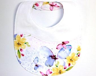Baby Designer Bib, Infant Bib, Girls Bib, Dribble Bib, Purple Butterflies, Reversible, Toddler Bib, Newborn, Baby Gift