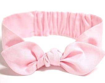 "Baby Bow Headband, baby girl headband, pink cotton, baby knot headband, newborn, knot headband, solid, ""Cissy"""