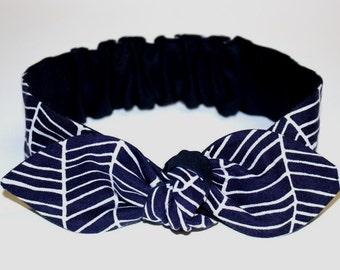 """Baby Bow Headband, baby girl headband, navy herringbone, baby knot headband, newborn, knot headband, nautical, """"Blueberry"""""""