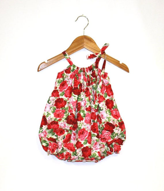 f6972b3ded3 Red Roses Baby Girl Romper Baby Rompers Bubble Romper