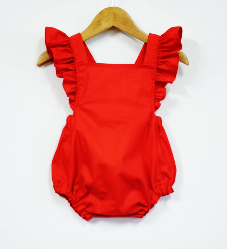 38c46e1f31b Red Retro Baby Girl Romper Ruffle Romper Baby Outfit Girl