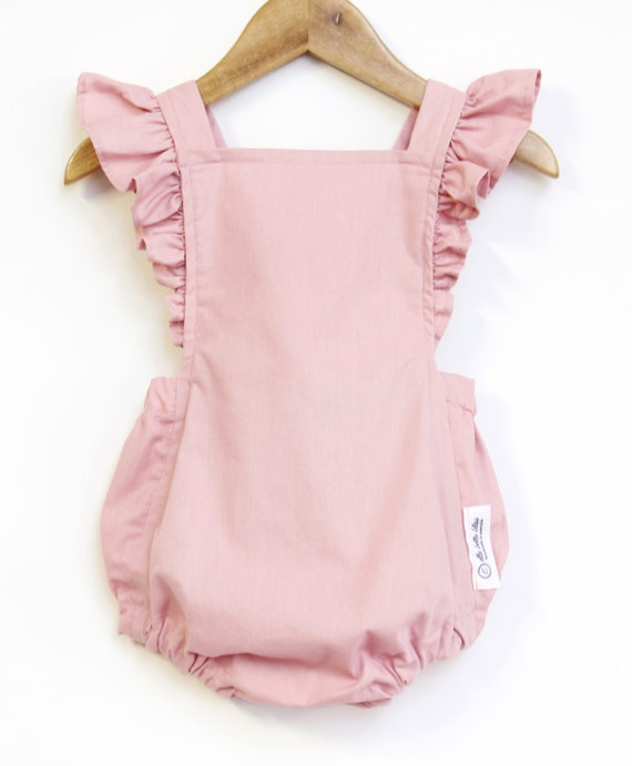 49875b57f19 Vintage-style Baby Romper Blush Pink Romper Baby Girl