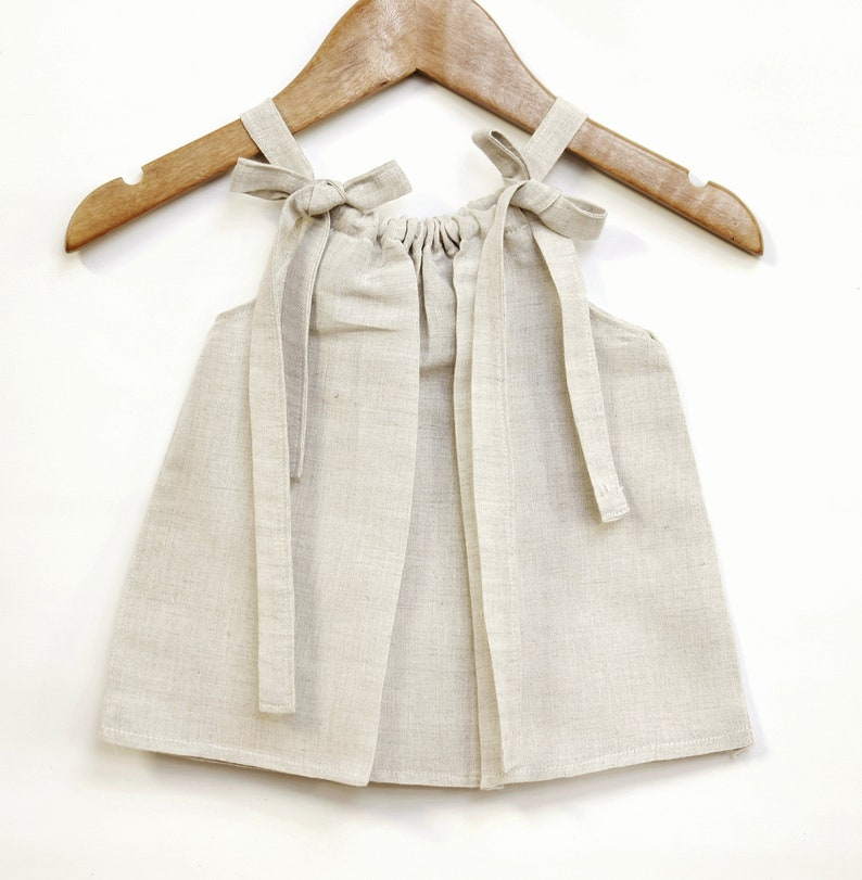 Natural linen cotton baby top summer baby girl baby girl image 0