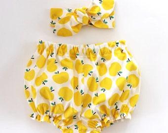 Baby Bloomers and Headband Set, baby girl headband, baby girl bloomers, yellow apples, bloomers set, baby bloomers