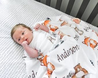 Baby Woodland Blanket Woodland Animals Swaddle Blanket Baby Boy Receiving Blanket Baby Boy Gift Baby Boy Baby Blanket Baby Name Blanket