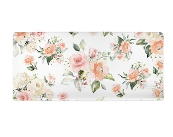 minimalist nursery Modern Floral Nursery Fitted Changing Pad Cover in Summer Grove by Day navy coral yellow aqua