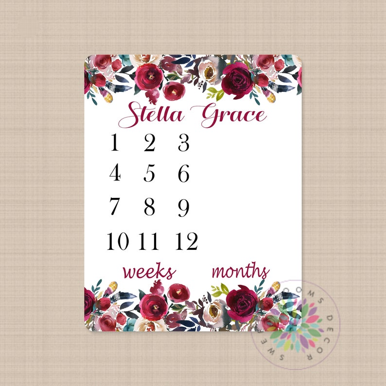 Boho Milestone Blanket Personalized Red Burgundy Watercolor Flowers Wreath Monthly Growth Newborn Girl Name Bohemian Baby Shower Gift B506