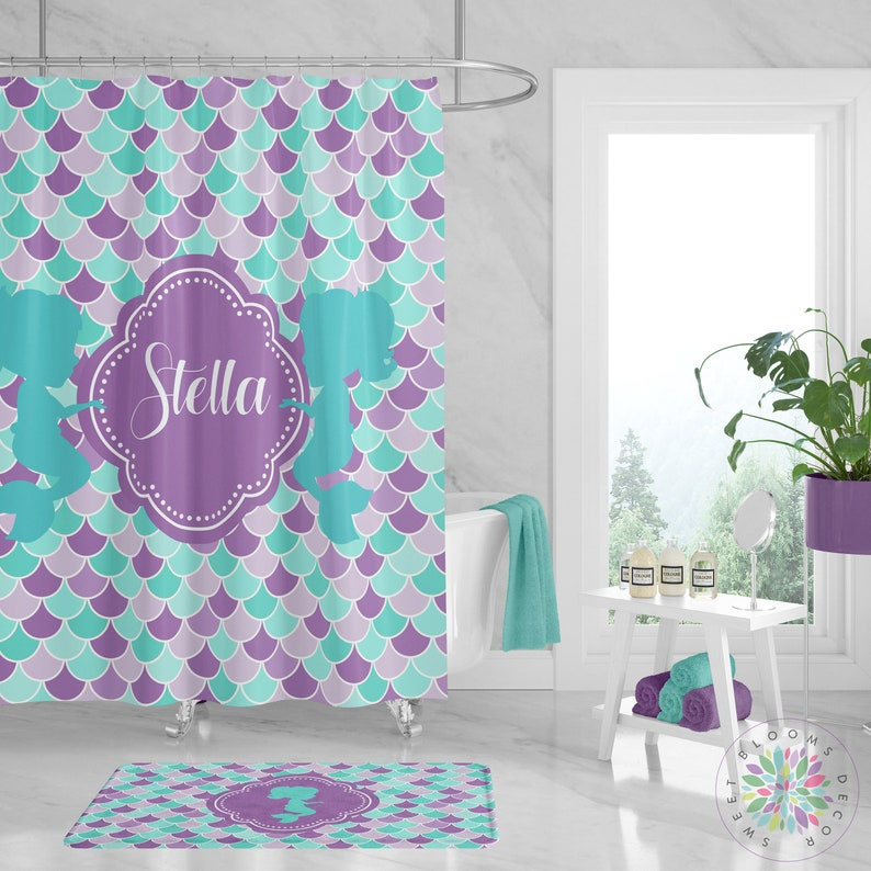 Mermaid Shower Curtain Bathroom Decor Custom