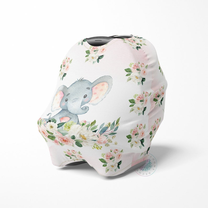 Elephant Baby Car Seat Cover Canopy Blush Pink Floral Girl Baby Shower Gift Shopping Cart Highchair Nursing Privacy Carseat Cover C102
