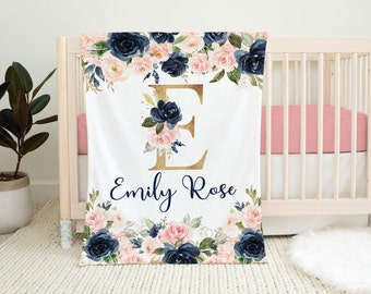 Floral Girl Name Blanket Blush Pink Navy Blue Gold Coral Flowers Newborn Baby Girl Personalized Baby Shower Gift Crib Bedding  B1437
