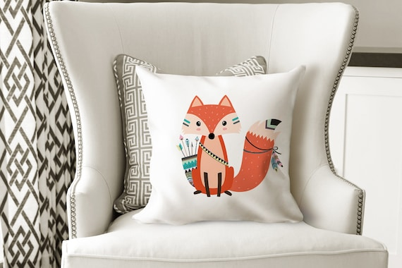 Fox Throw Pillow Tribal Fox Pillow Woodland Bedroom Decor Fox | Etsy